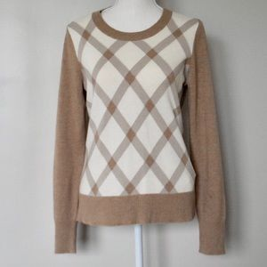 Banana Republic Italian Yarn Tan Argyle Sweater